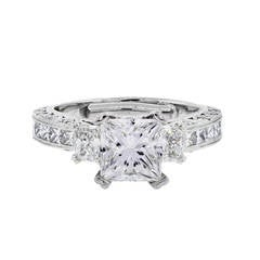 Tacori Platinum 1.71 Carat GIA Cert Princess Cut Diamond Platinum Ring
