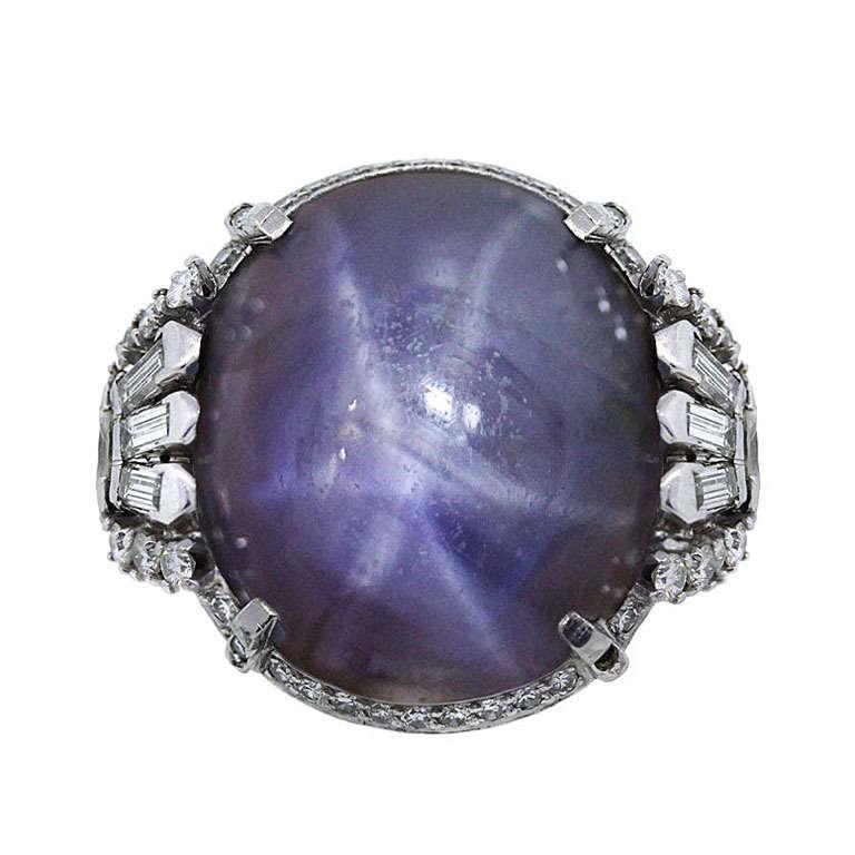 Antique Star Sapphire Diamond Platinum Ring