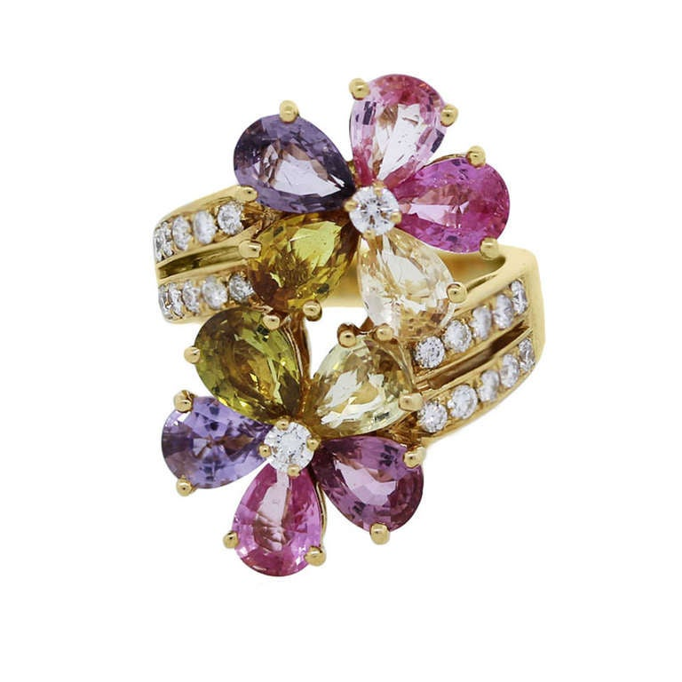 Bulgari Sapphire Diamond Yellow Gold Flower Ring