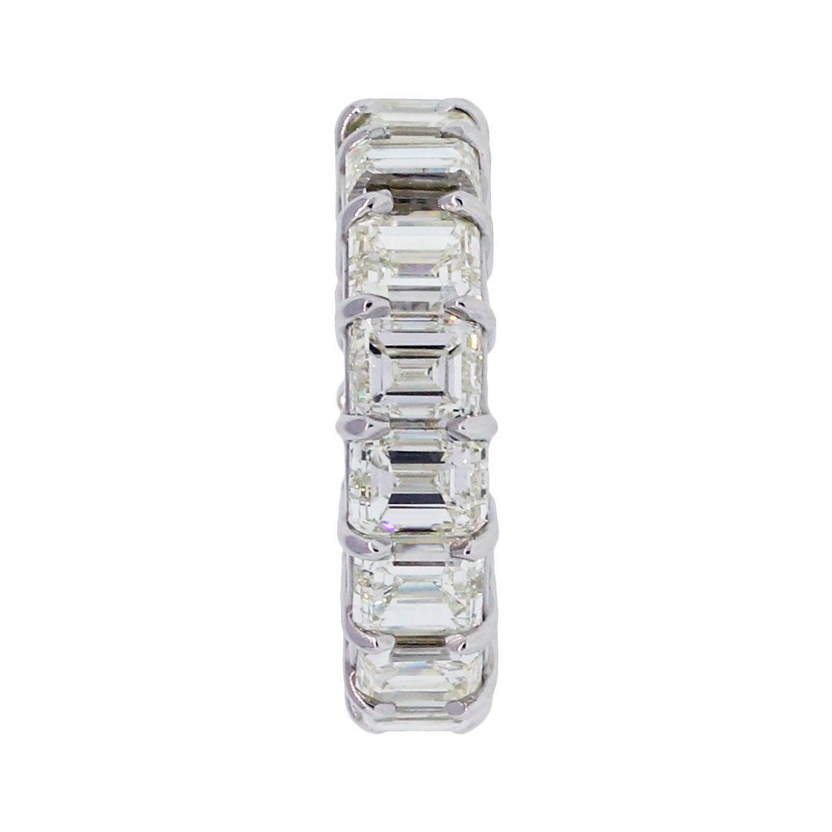 emerald cut 15 carats platinum eternity band ring
