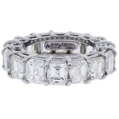 Emerald Cut Diamond 15 Carats Platinum Eternity Band Ring