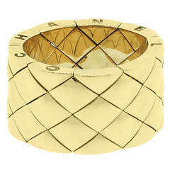 Chanel Matelasse Gold Wide Ring