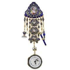 French Yellow Gold Diamond Cameos Pocket Watch