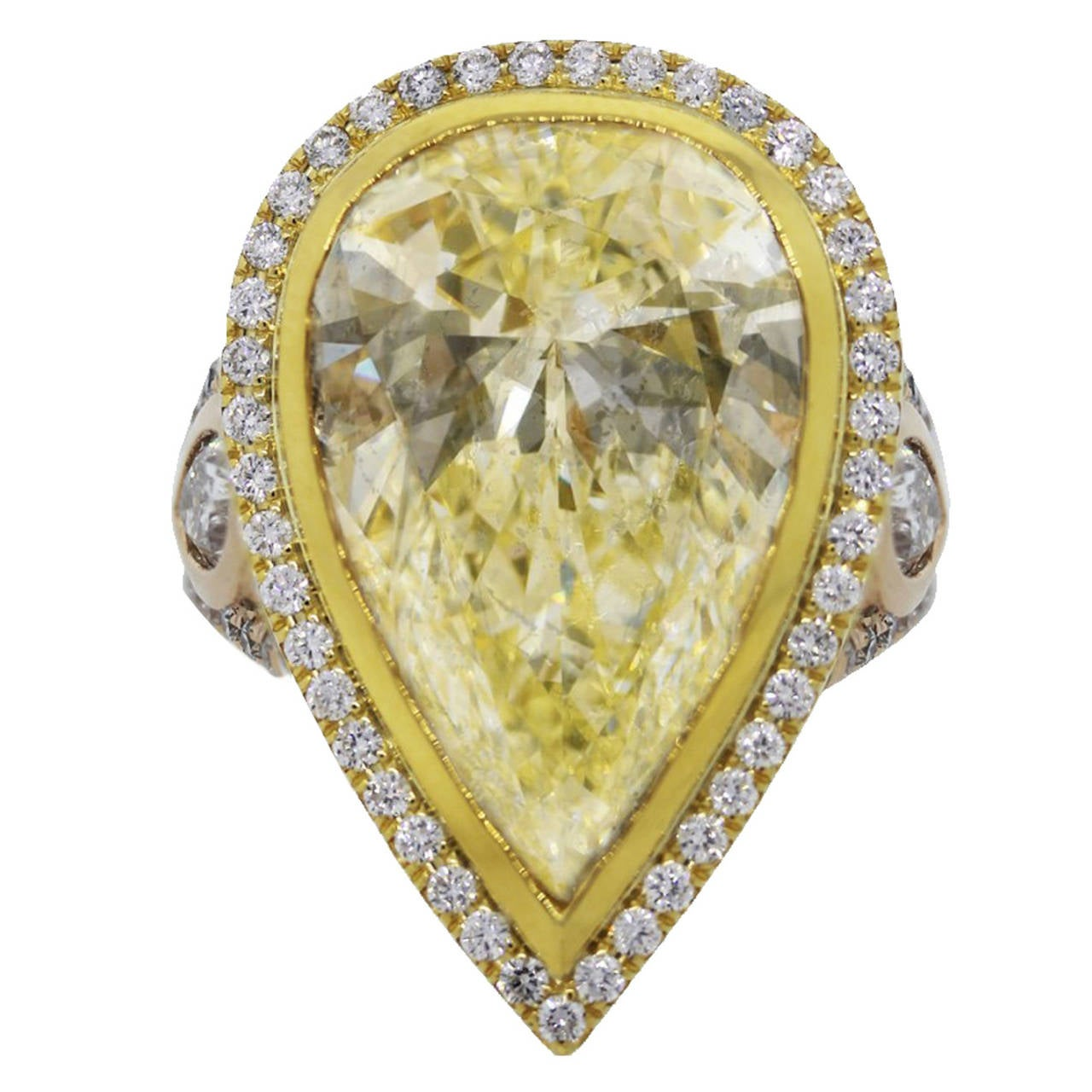 1433 Carat Fancy Light Yellow Pear Shaped Diamond Gold Engagement Ring 1