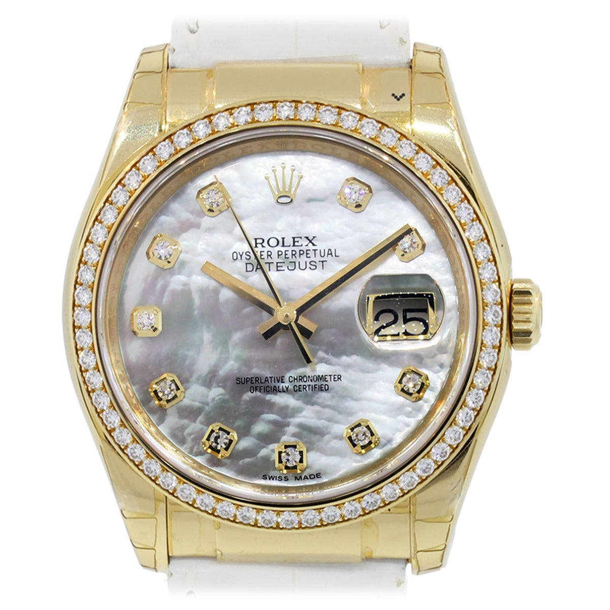 Rolex Yellow Gold Datejust Mother of Pearl Diamond Dial Wristwatch Ref 116188 For Sale