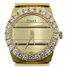 Piaget Yellow Gold Polo Diamond Bezel Quartz Wristwatch Ref 8296