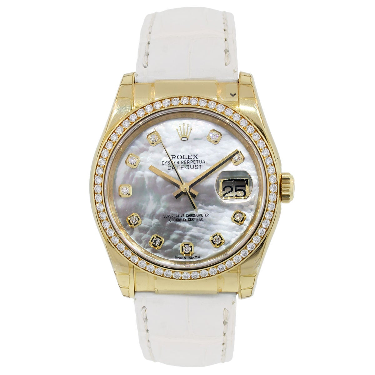 Rolex Yellow Gold Datejust Mother of Pearl Diamond Dial Wristwatch Ref 116188 2