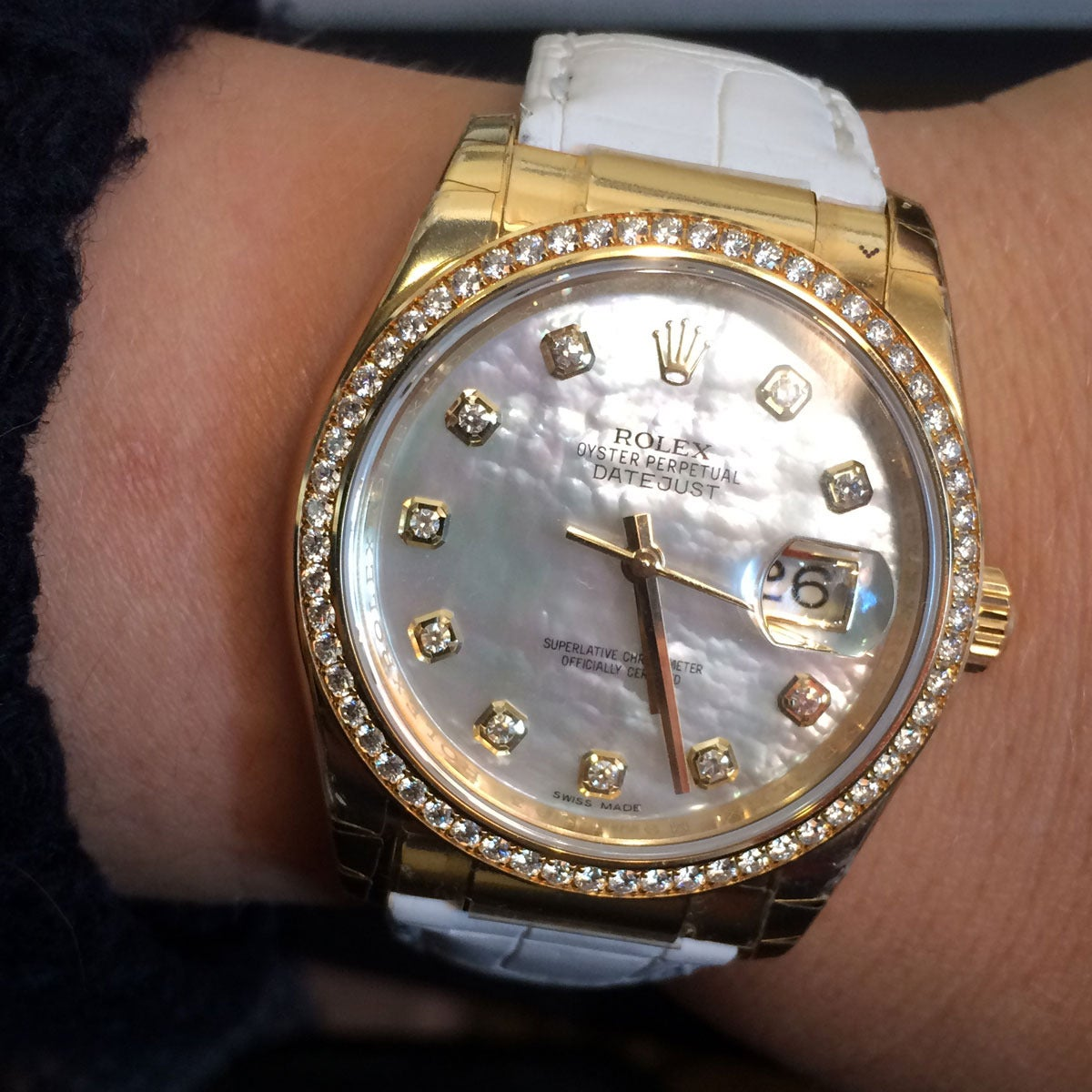 Rolex Yellow Gold Datejust Mother of Pearl Diamond Dial Wristwatch Ref 116188 For Sale 5