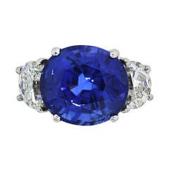 Natural Heated Madagascar Sapphire Diamond Platinum Ring