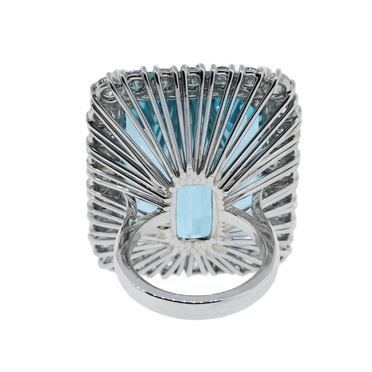 Aquamarine Diamond Platinum Ring For Sale 2