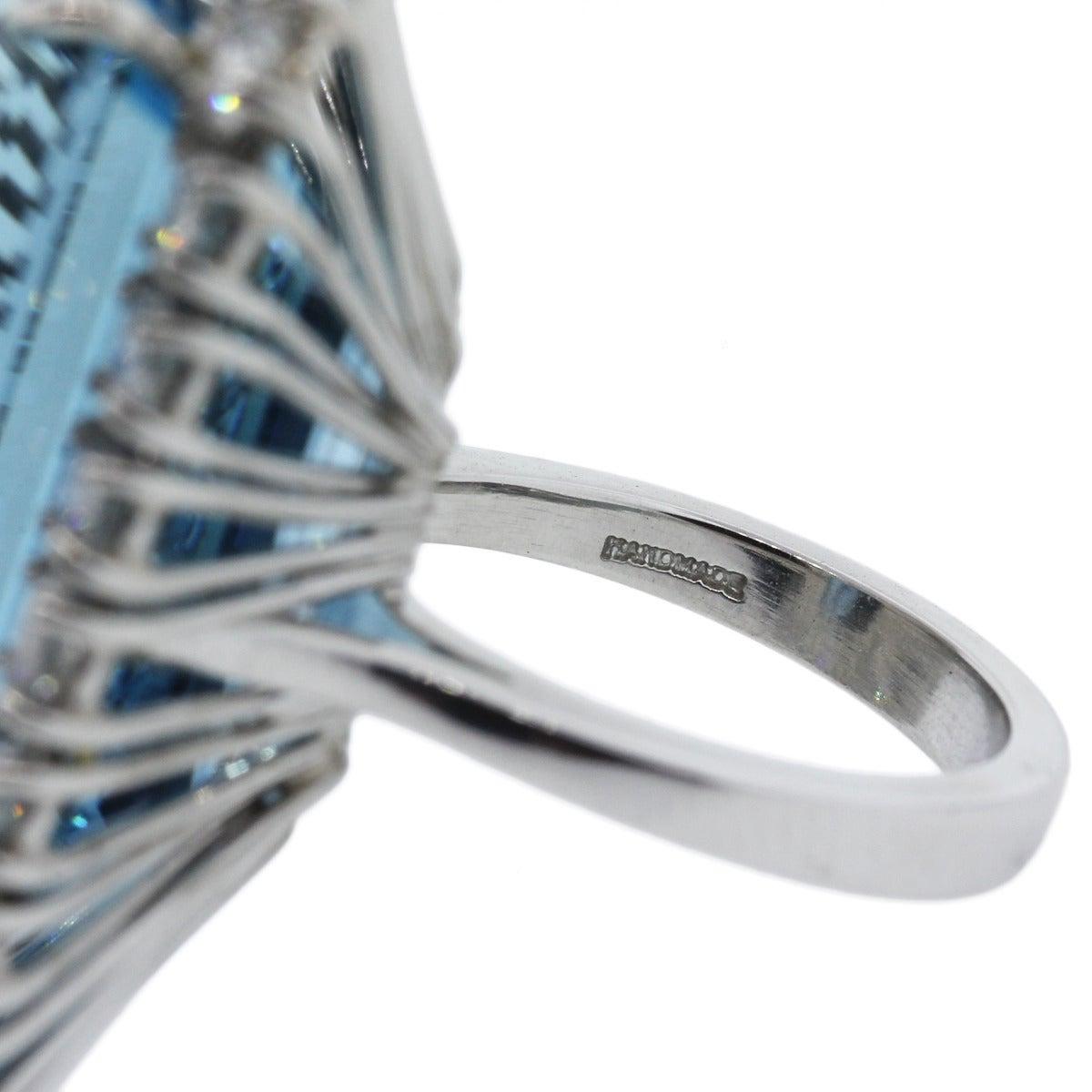 Aquamarine Diamond Platinum Ring For Sale 1