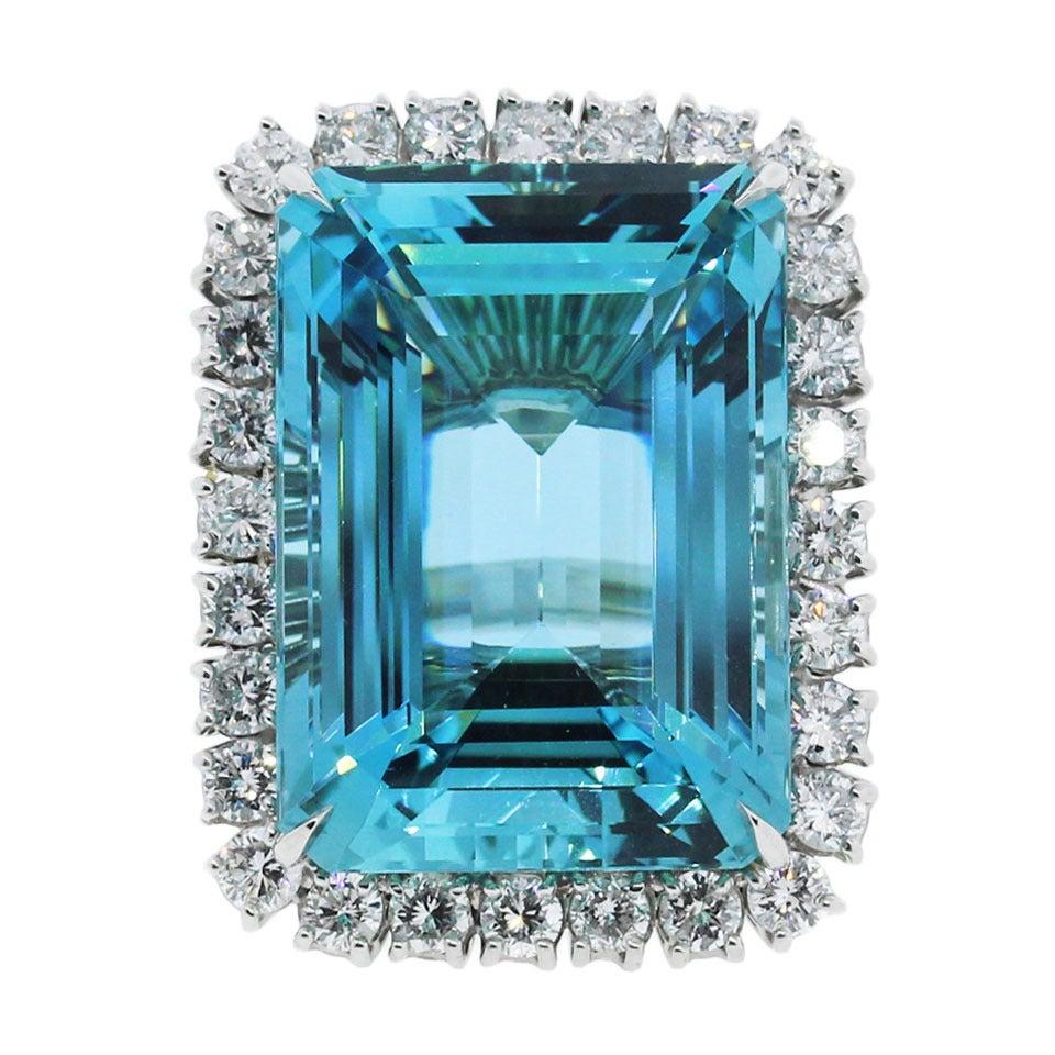 Aquamarine Diamond Platinum Ring For Sale