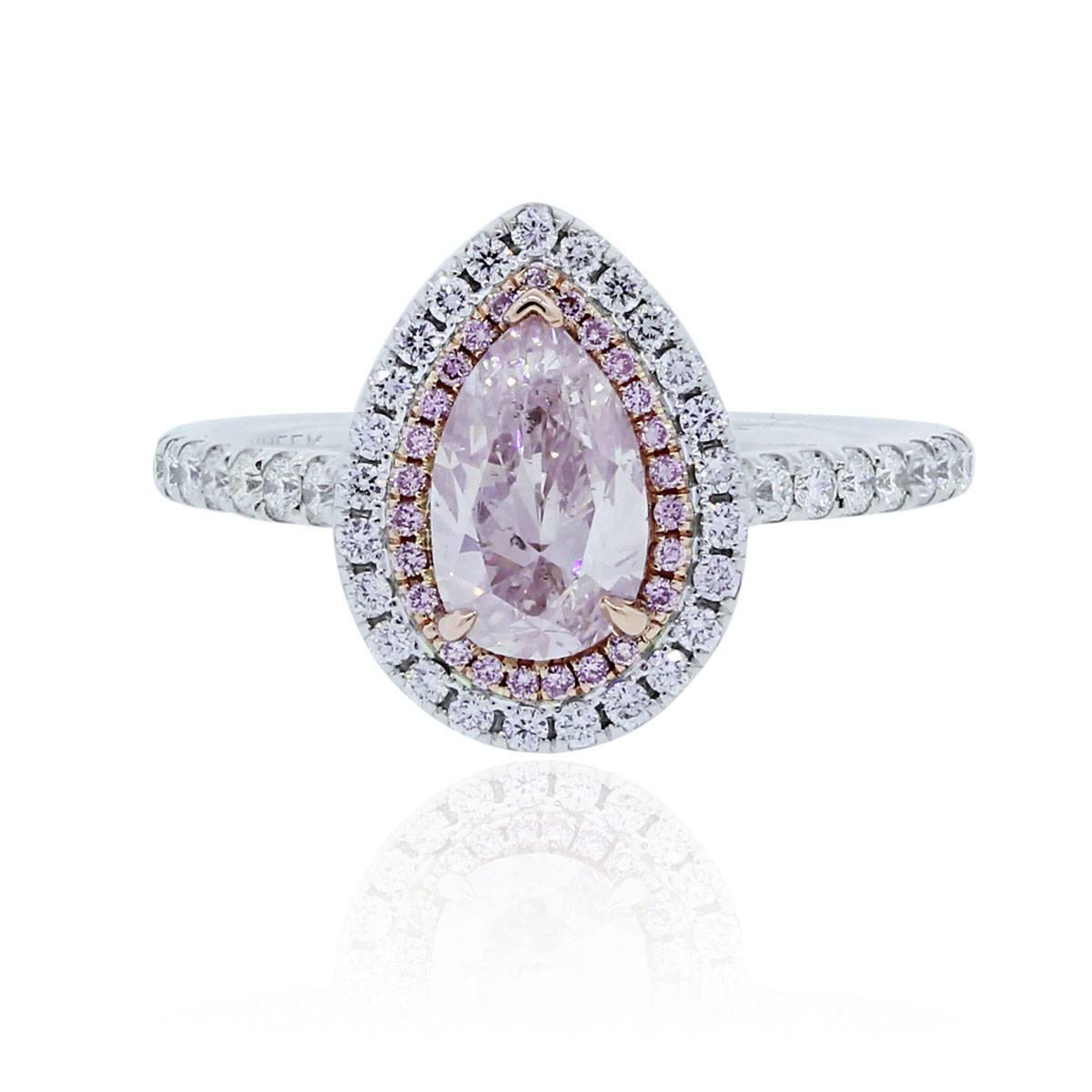 1 01 Carat Pink Pear shaped Diamond Gold Engagement Ring For Sale at 1stdibs
