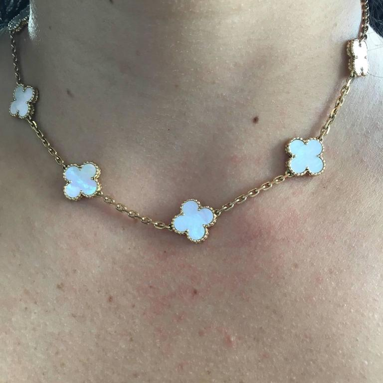 a7f11e9783de2 Van Cleef   Arpels Alhambra Mother of Pearl Gold 10 Motif Necklace In New  Condition For
