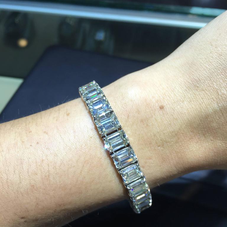 Emerald Cut Diamond Platinum Tennis Bracelet In New Condition For Boca Raton Fl
