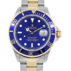 Rolex Stainless Steel Yellow Gold Submariner Blue Dial Automatic Wristwatch