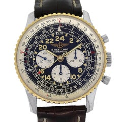 Breitling Yellow Gold Stainless Steel Cosmonaute Black Dial Chronograph Watch