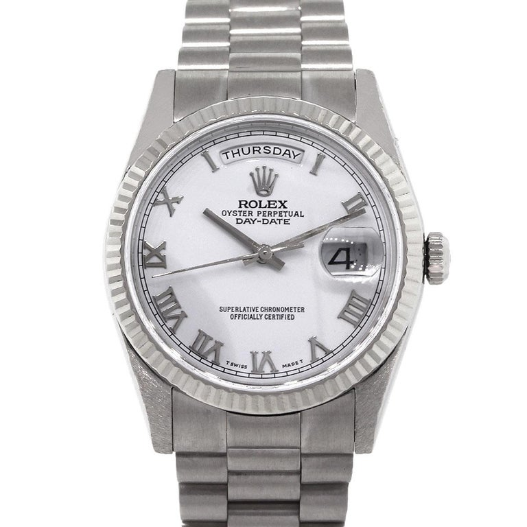Rolex Stainless Steel White Dial Day Date Presidential Automatic Wristwatch