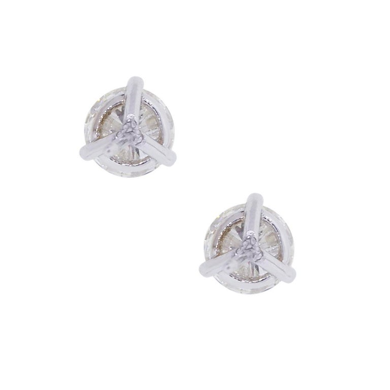Round Cut EGL Certified 2.45 Total Carat Weight Round Brilliant Diamond Stud Earrings For Sale