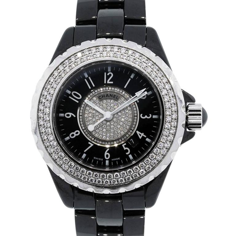 Chanel Lady's Ceramic Diamond Bezel Black Dial Quartz Wristwatch