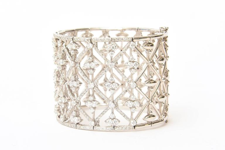Italian Geometric Design 18K White Gold Diamond Wide Cuff Bracelet 4