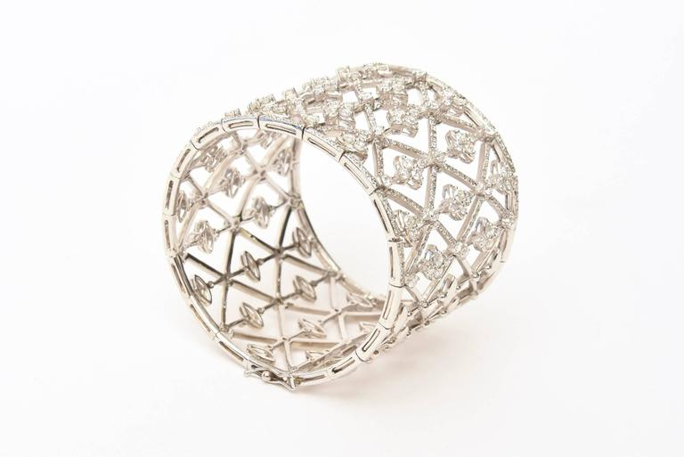 Italian Geometric Design 18K White Gold Diamond Wide Cuff Bracelet 2