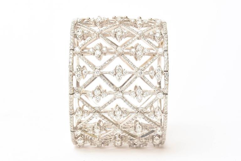 Italian Geometric Design 18K White Gold Diamond Wide Cuff Bracelet 3