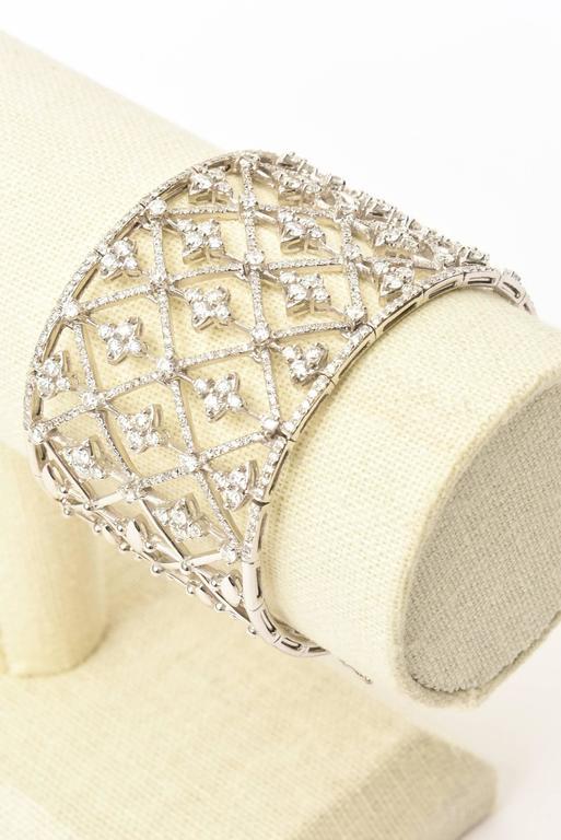 Italian Geometric Design 18K White Gold Diamond Wide Cuff Bracelet 7