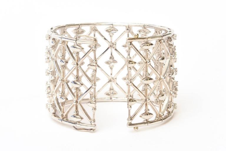 Italian Geometric Design 18K White Gold Diamond Wide Cuff Bracelet 6