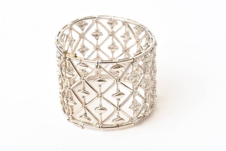 Italian Geometric Design 18K White Gold Diamond Wide Cuff Bracelet 9