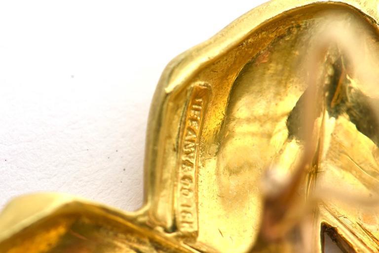 Vintage Tiffany & Co.18K Gold Pierced Lever Back Earrings For Sale 4