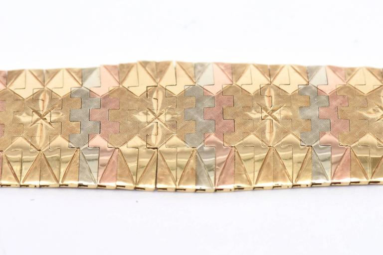 Modern Vintage Tri-Color 18K Gold Diamond Patterned Cuff Bracelet For Sale