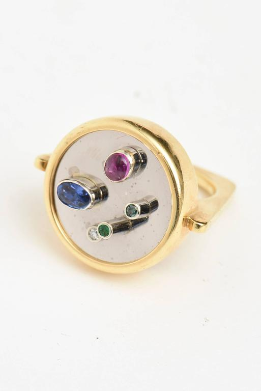 Modernist Sapphire, Ruby, Emerald 18K Yellow & White Gold Dome Ring 2