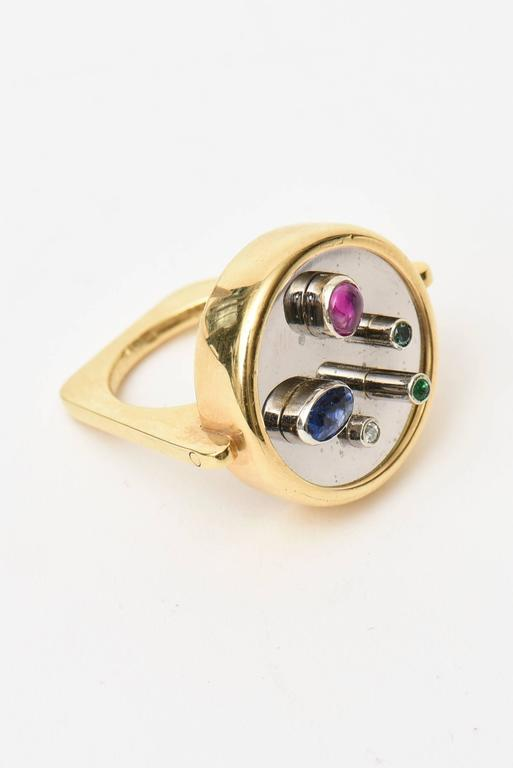 Modernist Sapphire, Ruby, Emerald 18K Yellow & White Gold Dome Ring 3