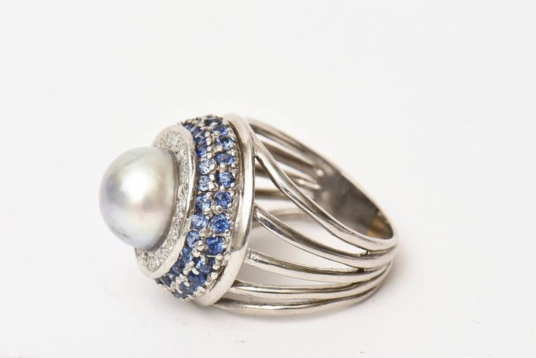 White Gold Cultured Pearl Diamond And Sapphire Dome