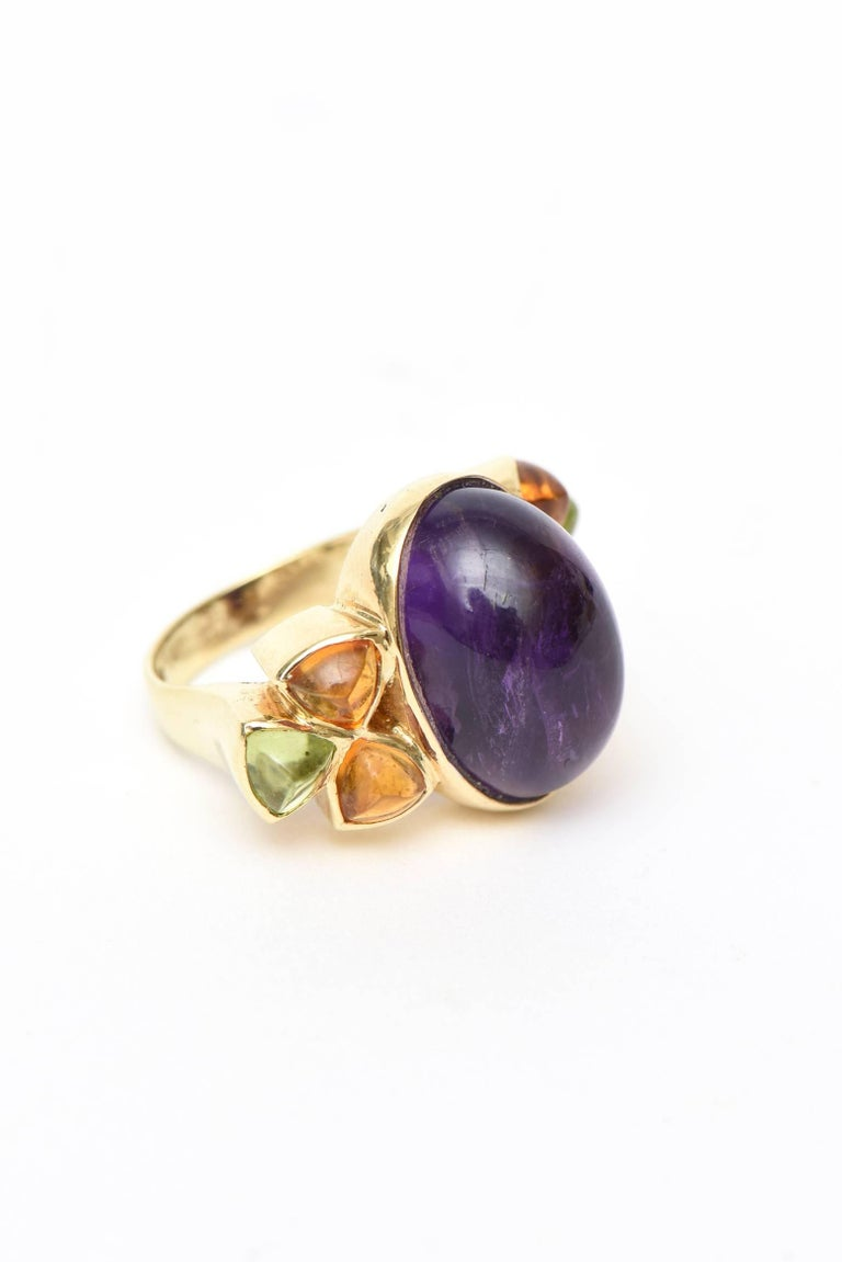 Modern 14 Karat Yellow Gold, Amethyst, Citrine and Peridot Cocktail Ring For Sale