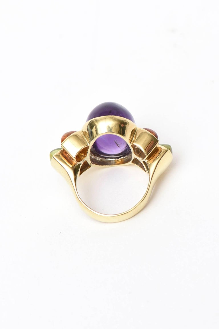 Baguette Cut 14 Karat Yellow Gold, Amethyst, Citrine and Peridot Cocktail Ring For Sale