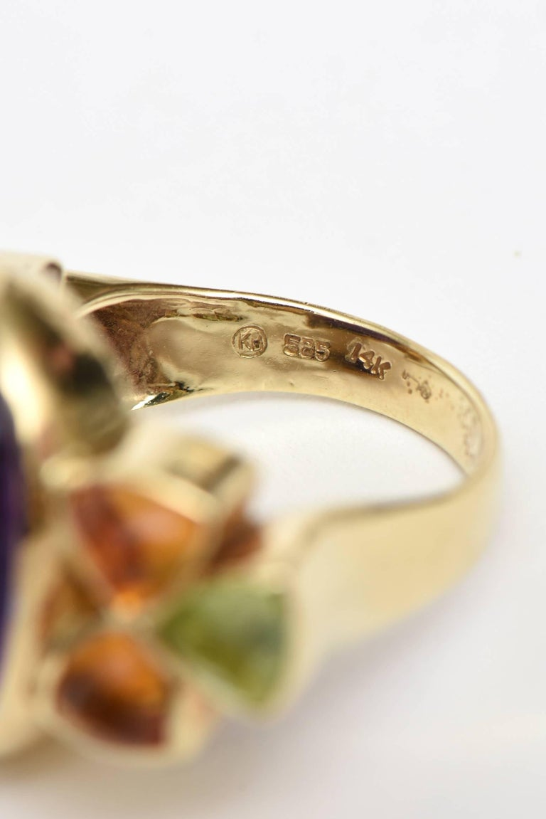 14 Karat Yellow Gold, Amethyst, Citrine and Peridot Cocktail Ring In Good Condition For Sale In North Miami, FL