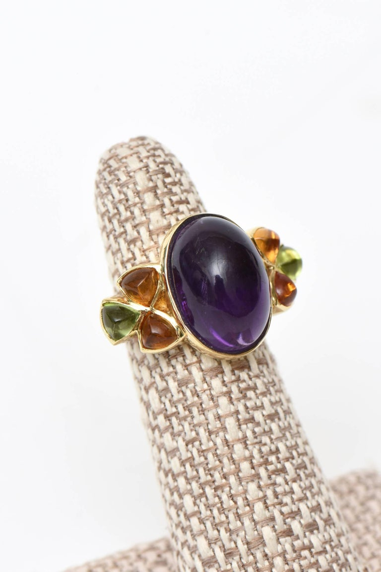 Women's 14 Karat Yellow Gold, Amethyst, Citrine and Peridot Cocktail Ring For Sale