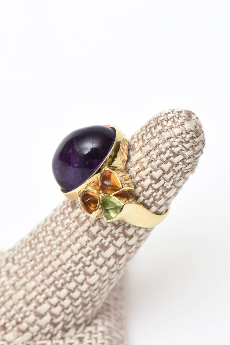 14 Karat Yellow Gold, Amethyst, Citrine and Peridot Cocktail Ring For Sale 2