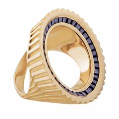 "Hannah Martin London Sapphire Gold Sculptural ""Empty Sovereign"" Ring"