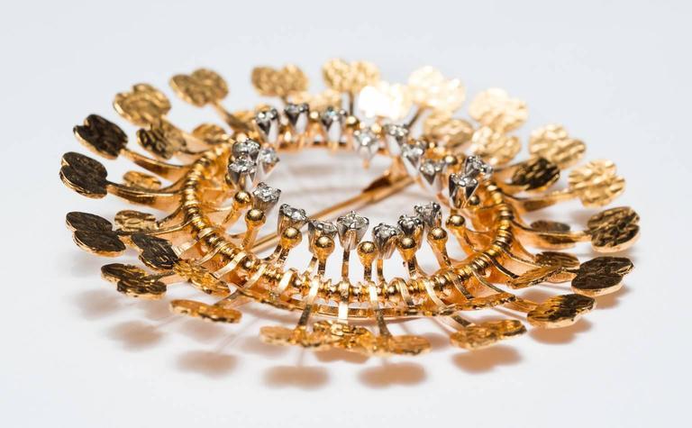 Women's or Men's 1960s Tapio Wirkkala Handmade Diamond Gold