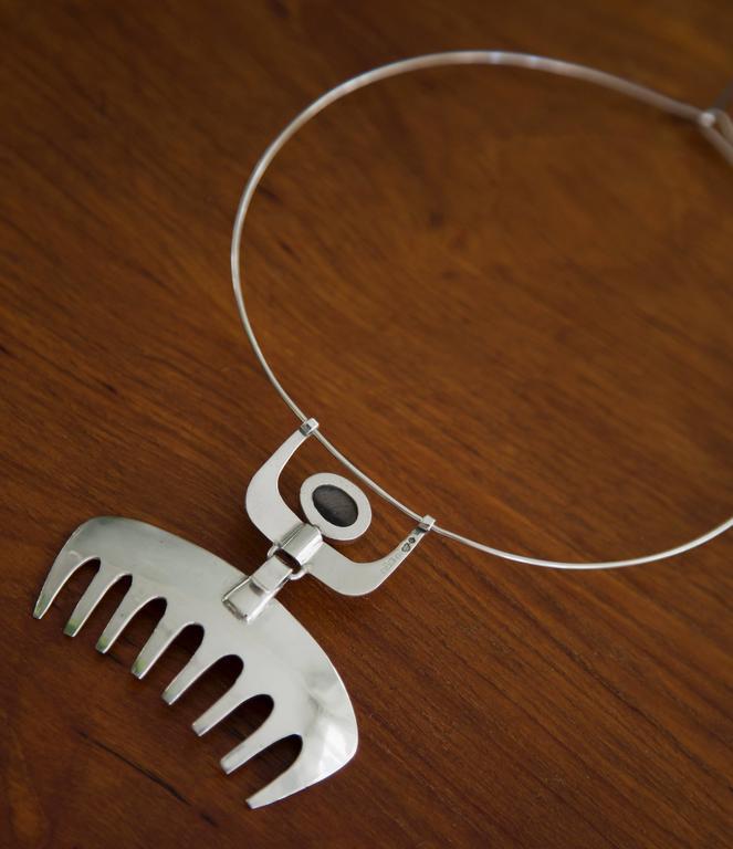 1954 Karl-ÅKe Nyströms Sterling Silver Pendant Necklace For Sale 4