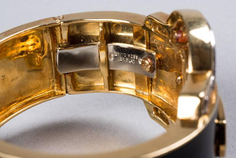 1970s David Webb Black Enamel Diamond Gold Cuff Bracelet 5