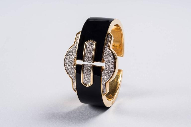 1970s David Webb Black Enamel Diamond Gold Cuff Bracelet 2