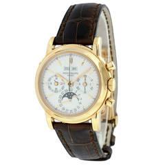 Patek Philippe Rose Gold Perpetual Calendar Chronograph Wristwatch Ref 3970ER