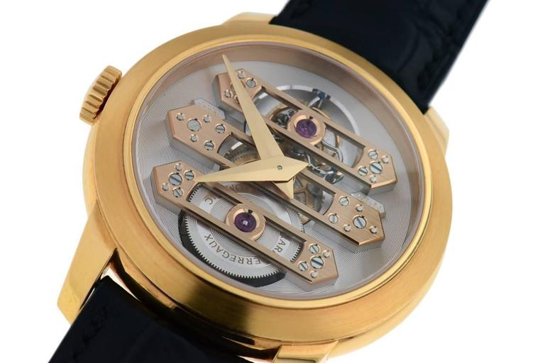 Gentleman's Girard Perregaux Triple Bridge Tourbillon in 18K rose gold, Ref#99193-52-002-BA6A. On original reptile strap with 18K rose gold deployant buckle, screw in caseback, 41mm case diameter. Self winding movement, 48 hour power reserve.