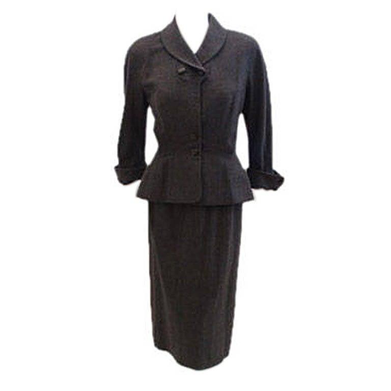 Hattie Carnegie 2pc Grey Wool Fitted Jacket Skirt Set, Circa 1950's