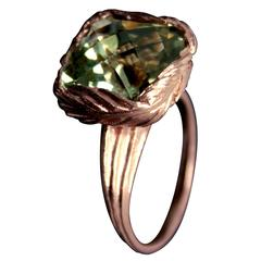 Cushion Cut Green Amethyst Gold Feather Ring