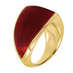 William Cheshire Translucent Red Cold Enamel Gold Vermeil Libertine Ring